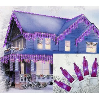 100 Purple Mini Icicle Christmas Lights - 5.5 ft White Wire