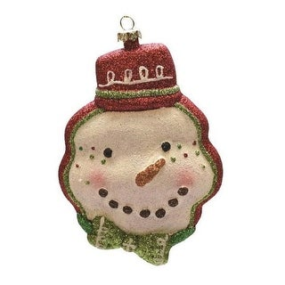"""5.75"""" Red and Green Shatterproof Snowman Head with Hat Christmas Ornament"""