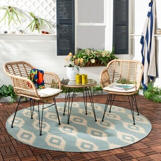 Safavieh Outdoor Living Alton 3 Piece Lounge Set - Brown / White