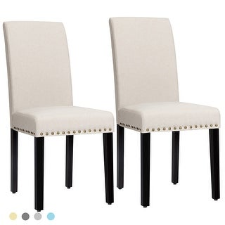 Costway Set of 2 Fabric Dining Chairs Upholstered with Nailhead Trim - See Description