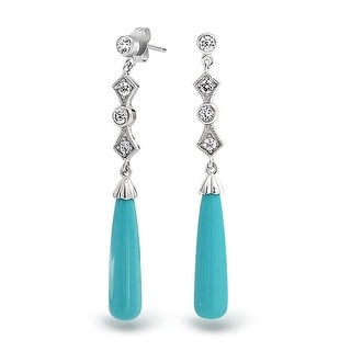 Bling Jewelry .925 Silver Art Deco Style Reconstituted Turquoise Drop Earrings