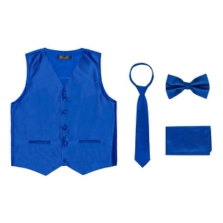 Porto Filo Men's Diamond Design Tuxedo 4 Piece Set (Vest, Tie, Hanky, Bow Tie in Gift Box Packing)