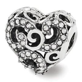 Sterling Silver Reflections Swarovski Elements Filigree Heart Bead (4mm Diameter Hole)