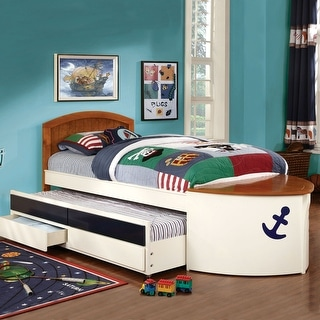 Furniture of America Zyon Novelty White Twin Solid Wood Bed and Trundle