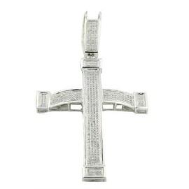1cttw Diamond Cross Pendant Mens Sterling Silver 78mm Tall(i2/i3, I/j)