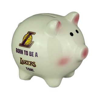 Los Angeles Lakers Born to Be A Lakers Fan Ceramic Piggy Bank - Off-white