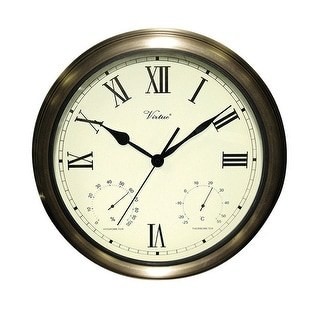 """18"""" White and Bronze Battery Operated Roman Outdoor Clock"""