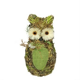 """11"""" Brown and Green Decorative Owl Spring Table Top Figure"""