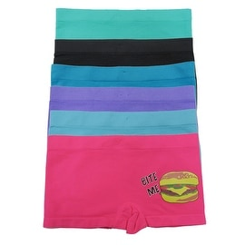 Girl's 6 Pack Seamless Hamburger Print Underwear Boyshorts Panties