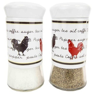 Home Basics 2-Piece Rooster Glass Salt and Pepper Set, 4.4 Ounces, White