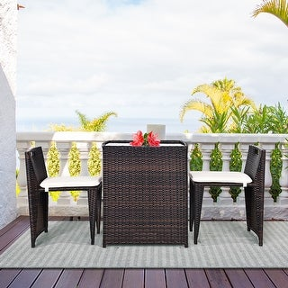 Costway 3PCS Outdoor Patio Rattan Furniture Set Space Saving Garden