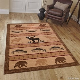"Brown Moose with Fish Print Cabin Outdoor Wildlife Animal Area Rug (5' 2"" x 7' 2"")"