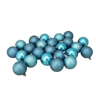 "24ct Turquoise Blue Shatterproof 4-Finish Christmas Ball Ornaments 2.5"" (60mm)"