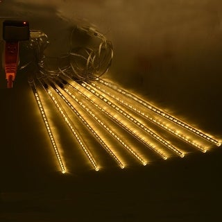 AGPtek 8pcs 50cm Tube Colorful Meteor Shower Rain Lights Snowfall Light for Wedding Party Christmas Decor Warm White - SIZE