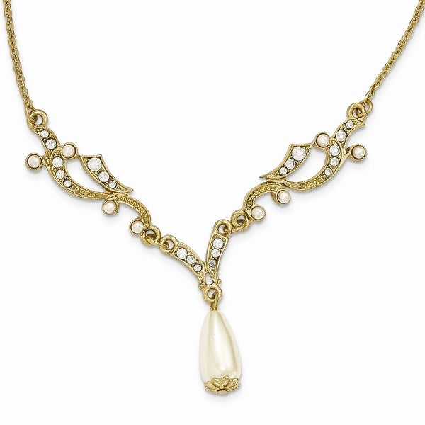 Goldtone Downton Abbey Simulated Pearl and Crystal Necklace - 16in