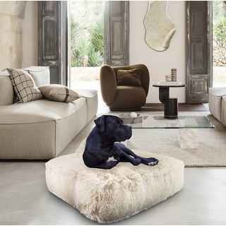 Bessie and Barnie Blondie Ultra Plush Faux Fur Luxury Shag Durable Sicilian Rectangle Pet/Dog Bed