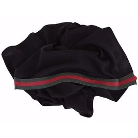 New Gucci Men's 327377 Black Wool Red Green Web Trim Scarf Muffler