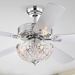 Silver Orchid Novarro Lighted Ceiling Fan with Crystal Bowl Shade (Includes Remote)