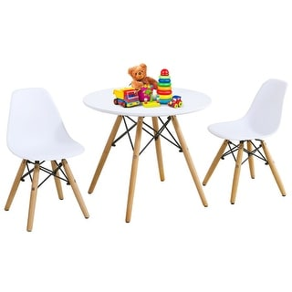 Gymax Kids Modern Dining Table Set Round Table with 2 Armless Chairs