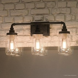 """Luxury Industrial Bathroom Light, 11""""H x 21.5""""W, with Shabby Chic Style, Aged Pipe Design,Antique Black Finish"""