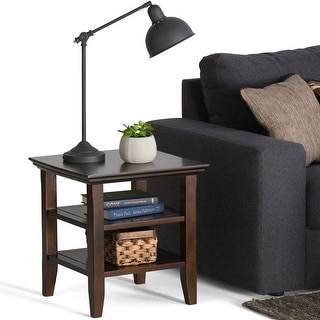 WYNDENHALL Normandy SOLID WOOD 19 inch Wide Square Rustic End Table - 19 inch Wide