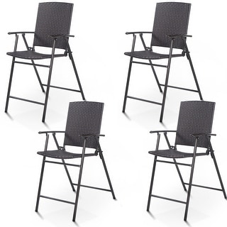 Costway 4 PCS Folding Rattan Wicker Bar Stool Chair Indoor &Outdoor
