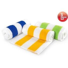 """Classic Cabana Stripe Oversize Beach Cotton Towel 30""""x70"""" 3 Piece Set"""