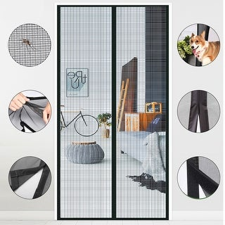 "AGPtek Magnetic Screen Door with Durable Fiberglass Mesh Curtain and Full Frame Hook Loop Fits Size 37""x82""Black"
