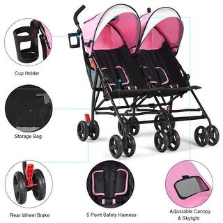 Baby-joy Foldable Twin Baby Double Stroller Kids Ultralight Umbrella