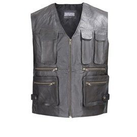 Men Leather Motorcycle Biker Tactical Vest 8 pockets Black by Xtreemgear MBV102