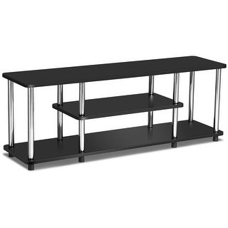 Gymax 3-Tier TV Stand Stainless Steel EPA Listed Universal Withstand