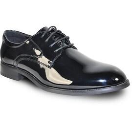 VANGELO Men Dress Shoe TAB Oxford Formal Tuxedo for Prom & Wedding Shoe Black Patent -Wide Width Available