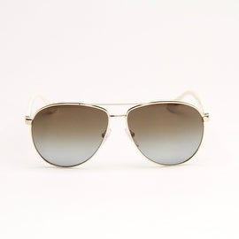Light Gold And White Metal Aviator Sunglasses With Brown Gradient Polarized Len