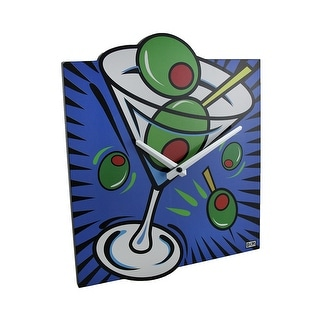 Brightly Colored Pop Art Style Martini Wall Clock - 13 X 11 X 0.5 inches