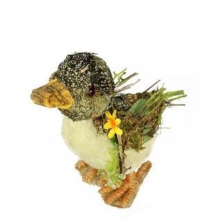 """5.75"""" Brown, Ivory and Orange Standing Duck Spring Table Top Decoration - Brown"""