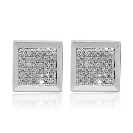 9mm Wide Mens Earrings 10K White Gold 1/10cttww Diamonds Screw Back Square(0.1cttw)