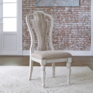Magnolia Manor Antique White Upholstered Side Chair (Set of 2)