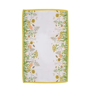 "Tea Garden Cream and Yellow Butterfly and Flower Table Runner 16"" x 54"""