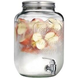 Palais Glassware High Quality Mason Jar Beverage Dispenser - Traditional Tin Screw Off Lid - 2 Gallon Capacity - ('Yorkshire' Em