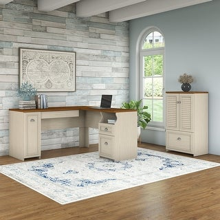 Copper Grove Khashuri L-shaped Desk and Storage Cabinet with Drawer