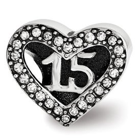 Sterling Silver Reflections Swarovski Quinceanera Heart Bead (4mm Diameter Hole)