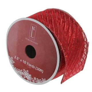 "Red Metallic Christmas Wired Craft Ribbon 2.5"" x 10 Yards"