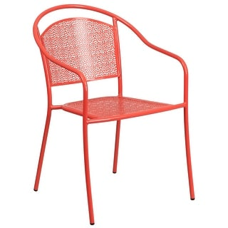 Coral Indoor-Outdoor Steel Patio Arm Chair with Round Back - Café Chair