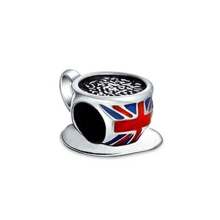 British Flag UK London Travel Tea Cup Charm Bead Sterling Silver