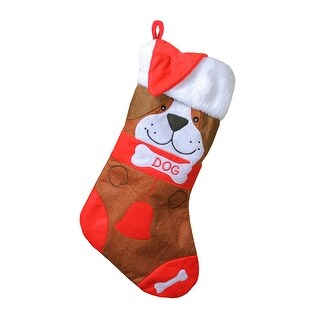 """17"""" Red and Brown """"DOG"""" Embroidered Christmas Stocking with Cuff"""