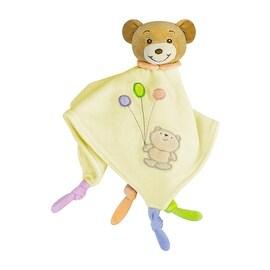 Russ Baby Bow Teddy Bear Rattle Blanket in Yellow