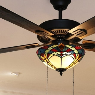 "Copper Grove Thionville 5-Blade Bronze and Stained Glass Ceiling Fan - 52""L x 52""W x 20""H"