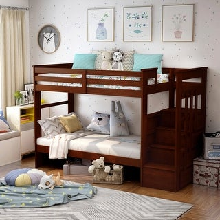Furniture of America Bred Contemporary Walnut Twin/Twin Bunk Bed