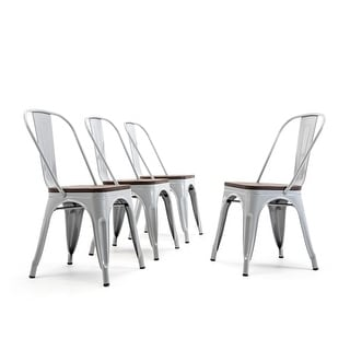 BELLEZE Metal Stackable Chairs Set of 4 Wood Seat Stool Modern Silver - standard