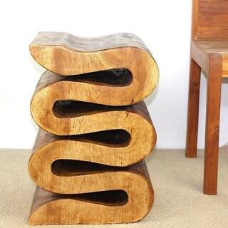 Haussmann Wood Wave Verve Accent Snake Table - 14 x 14 x 20